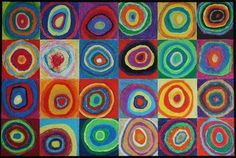 Kandinsky group art project for kids, get white bed sheet, divide into equal circles and each student paints their own circle. Mural for wall. Collaborative Art, Pincel, Elementary Art, Group Art Projects, School Art Projects, Auction Projects, Squares, Art Auction, School Auction
