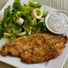 "Recipe for Almond and Parmesan Baked Tilapia; ""breading"" the fish with almond flour makes it gluten-free, low-glycemic, and delicious! [from Kalyn's Kitchen] #LowCarb  #GlutenFree  #SouthBeachDiet"