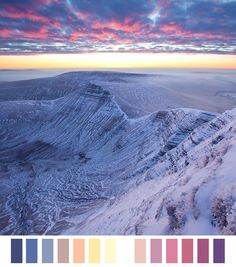 Craig Cwm Sere connects Pen y Fan and Cribyn (the central peak). The colours of these altocumulus just before sunrise were absolutely fantastic. Around sunrise the light changes dramatically, with the sun below the horizon the snow takes on the blue of the sky above. Alex Nail