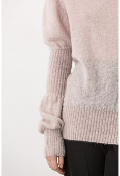high neck puff-sleeves sweater