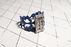 Police Box Ring on blue filigree inspired by Doctor Who and the TARDIS