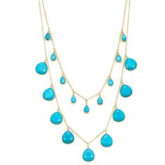 """Double-strand necklace in gold with pendant turquoise stones.  Product: NecklaceConstruction Material: Metal and resinColor: TurquoiseFeatures:  Double stranded2"""" Extension included Dimensions: 28"""" ChainCleaning and Care: Do not get wet or use jewelry cleaner on costume jewelry"""
