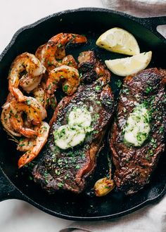 Garlic Butter Skillet Steak and Shrimp - tender cooked steak and juicy shrimp all smeared with homemade garlic butter. So easy to make and perfect for date night or even a weeknight dinner! Seared Salmon Recipes, Pan Seared Salmon, Shrimp Recipes, Beef Recipes, Cooking Recipes, Baked Salmon, New York Strip Steak, Skillet Steak, Skillet Chicken