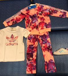 063a42565a5d GIRLS ORIGINALS AQUATIC PRINT FLORAL SUPERSTAR TRACK SUIT INFANT TODDLER  12M-4T  adidas  Everyday