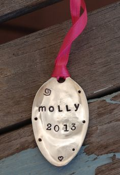 PERSONALIZED Ornament hand Stamped SPOON with 2013 Name