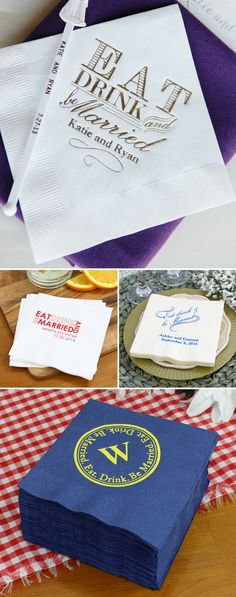 Personalized napkins will add character to represent the bride and groom at every stage of your wedding reception. Use cocktail napkins for serving beverages and appetizers to wet your guests' appetites and for serving wedding cake after dinner. Luncheon napkins are perfect for buffet-style receptions, brunches and cake serving. Dinner napkins can be folded or wrapped around silverware to accent the guest tables.