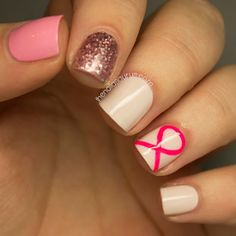 Nail Art for Breast Cancer Awareness Month - The Nailasaurus