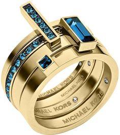 Michael Kors Golden Montana Stone Stackable Rings Set