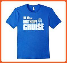 Mens 50th Birthday Cruise Ship Celebration Party Shirt Large Royal Blue - Birthday shirts (*Partner-Link)