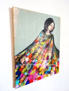 Shelter - Original Artwork, Collage, Mixed Media, Acrylic on Canvas, Patchwork, Rainbow, Quilt, Embroidered, Woman, Black Hair, Folk. $785.00, via Etsy. by Sarah Donnell.