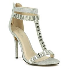 Celeste Silver T-strap High Heel Dress Sandal | Wendy-05  Step up your look of class and elegance with these chic dress sandals. Beautifully designed with an open-toe and ornamented with gorgeous mirror stones and small sparking stones on the t-strap. Made in attractive glitter mesh materials and finished with a back-zip closure, cushioned insole and felt-lined outsole.