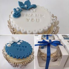 Thank you cupcakes for the wedding party. Royal blue and white.                                                                                                                                                                                 More