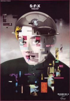 gurafiku: Japanese Poster: Haruomi Hosono S・F・X. interesting poster, thanks for showing . Graphic Design Posters, Graphic Design Typography, Graphic Design Inspiration, David Carson, Identity, New Wave, Japanese Poster, Japanese Graphic Design, Exhibition