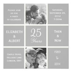 Modern Squares 25 Years Silver Wedding Anniversary