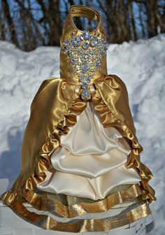 Dog Harness Dress Gold 24 Karat with Bling Wedding by KOCouture