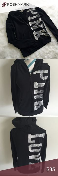 """VS PINK Sweatshirt Pretty black hooded zip up sweatshirt. """"Pink"""" in white is written on the front and """"love"""" on the back. Super warm and comfy. No flaws to note. PINK Victoria's Secret Tops Sweatshirts & Hoodies"""