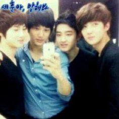 Junmyeon,JongIn,KyungSoo e Sehun em epoca de trainers