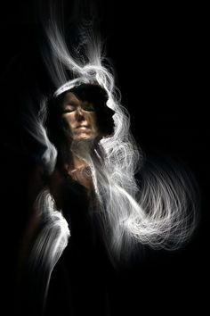 Self portrait, Light Painting with optic fiber.