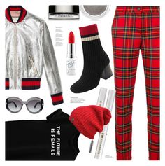 """Tartan Trousers"" by ames-ym ❤ liked on Polyvore featuring P.A.R.O.S.H., Gucci, Tom Ford, Clarins, Lancôme, MAC Cosmetics, bomberjacket, contestentry, plaidpants and tartantrousers"