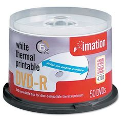 imation® Thermal Printable DVD-R Discs, 4.7GB, 16x, Spindle, White, 50/Pack by imation®. $33.99. imation® Thermal Printable DVD-R Discs, 4.7GB, 16x, Spindle, White, 50/PackPrint directly onto the disc for easy labeling and personalization. Expand your labeling options by using a CD/DVD printer, duplication/publishing system or duplication service. High-quality, full-face print surface offers print consistency and greater design possibilities. Premium dye underlayer h...
