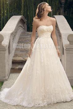 Bustier robe de mariée col en cœur dentelle traîne courte [#ROBE209907] - robedumariage.com