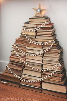 How to Make a Christmas Tree Out of Books