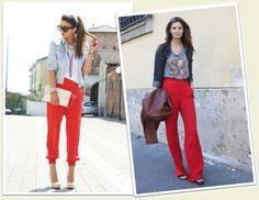 ideias para usar com calça vermelha