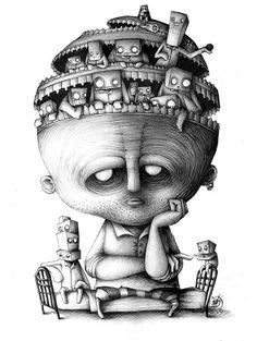 Illustration by Paride Bertolin Creepy Drawings, Creepy Art, Cool Drawings, Art Et Illustration, Ink Illustrations, Character Illustration, Dark Fantasy Art, Art Bizarre, Art Sinistre