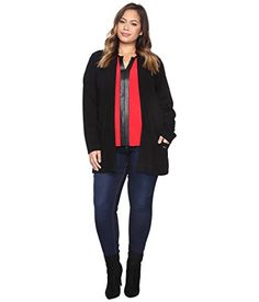 Calvin Klein Plus Womens Plus Size Long Open Cardigan w Logo Black Sweater *** Find out more about the great product at the image link.