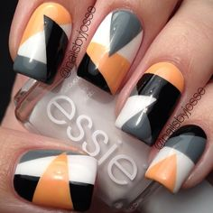 Orange, black, gray and white nails. Essie. Nail Art. Nail Design. Polishes. Polish. Polished. by nailsbyjosse