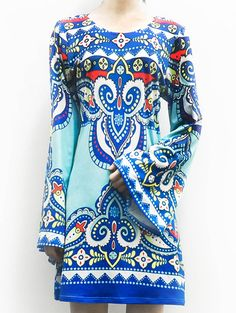 Totem Print Long Sleeve Dress Ethnic Printed by PureIndianArt