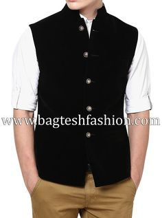 Royal Black Velvet Nehru Jacket