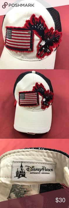 """Disney US Flag Bald Eagle Baseball Cap 🇺🇸🦅 Route 66 Blue Floral Paisley Blouse Open Cap Sleeve  Women's Size: Medium  Very Good Condition! No flaws.  Measurements lying flat: Shoulder to Shoulder 16"""", Armpit to Armpit 22"""", Sleeve's Length 5"""", Length 21"""".  Please, review pictures. You will get the item shown. Smoke & pet free home. Disney Accessories Hats"""