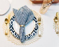 Fall Place Setting // Navy Blue, White, Gold