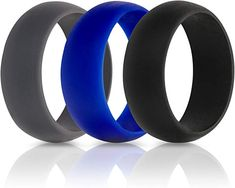 ThunderFit Silicone Wedding Rings for Men - 7 Pack / 5 Pack / 3 Pack - Rubber Wedding Bands Wide Thick) Fishing Engagement, Silicone Wedding Band, Formal Wedding, Wedding Ring Bands, Rings For Men, Black Dark, Climbing, Manual, Safety