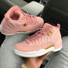 "Buy Best Quality Air Jordan 12 GS ""Pink Lemonade"" Pink/White-Gold Shoes from Online Sneaker Shop PerfectKicks with Affordable Price. Jordan Shoes Girls, Girls Shoes, Baby Shoes, Michael Jordan Shoes, Air Jordan Shoes, Jordan Swag, Jordan 12s, Sneakers Mode, Sneakers Fashion"