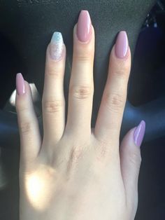 nude coffin shaped nails