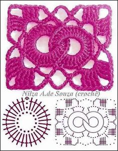 Crochet Patterns Stitches Beautiful crochet samples - with graphics Crochet Motifs, Crochet Blocks, Granny Square Crochet Pattern, Crochet Flower Patterns, Crochet Diagram, Crochet Stitches Patterns, Crochet Chart, Crochet Squares, Crochet Designs