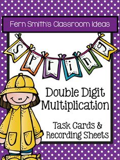 Spring Double Digit Multiplication Task Cards and Recording Sheets  →36 Task Cards in color. →36 Task Cards in black and white. →3 Recording Printable Worksheets with 3 Answer Key Sheets  #TPT $Paid