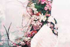 multiple exposure - flowers & girl