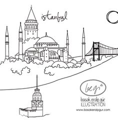 visual result of Istanbul post – Fatma Ergüler – Join the world of pin Minimal Drawings, Art Drawings, Art Sketches, Istanbul, Color Poem, City Drawing, Islamic Art Calligraphy, Adult Coloring Pages, String Art