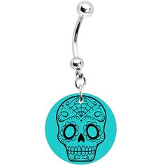 Turquoise Black Sugar Skull Dangle Belly Ring #piercing #bellyring #bodycandy $7.99