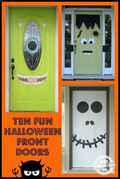 lots of really fun and simple ways to decorate halloween front doors - Halloween Front Doors