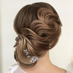 Hairstyle For Wedding Pearls & Sparkles French Roll With Glittery Pearl Hair Accessories