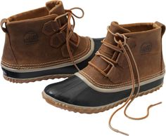 Sneaker comfort and barn boot protection meet in the Women's Sorel Out 'n About Boot from Duluth Trading Company. A waterproof upper and vulcanized rubber sole stroll unfazed through puddles and slush.