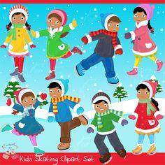 Third Grade Art, Snowman Images, Kids Skates, Winter Clipart, Puppy Birthday, African American Girl, Snow Fun, Girl Themes, Cute Clipart
