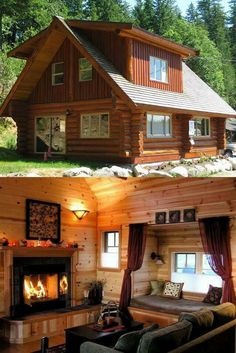 5 Amazing Log Home Decorating Ideas Log Cabin Living, Small Log Cabin, Tiny House Cabin, Log Cabin Homes, Log Cabins, Log Cabin Plans, Prefab Homes, Tiny Homes, Cabins And Cottages