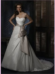White A Line Sweetheart With Champagne Sash Taffeta Wedding Dress - I'm not a huge fan of taffeta, but I like the simplicity of the silhouette with the accent sash.