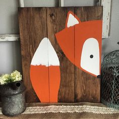 """16x20 Stay Clever Little Fox Wood Sign Nursery Decor Baby Shower Gift or Baby Decor. This sign is a part of my """"peak a boo nursery sign"""" collection. You will not find these signs in any store but my shop, these are my creations that I have hand drawn and"""