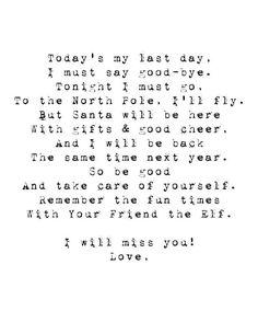Farewell letter to Krystal Rudolph the Elf Pinterest Letters